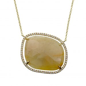 18KT Yellow Gold Sapphire Slice and Diamond Necklace