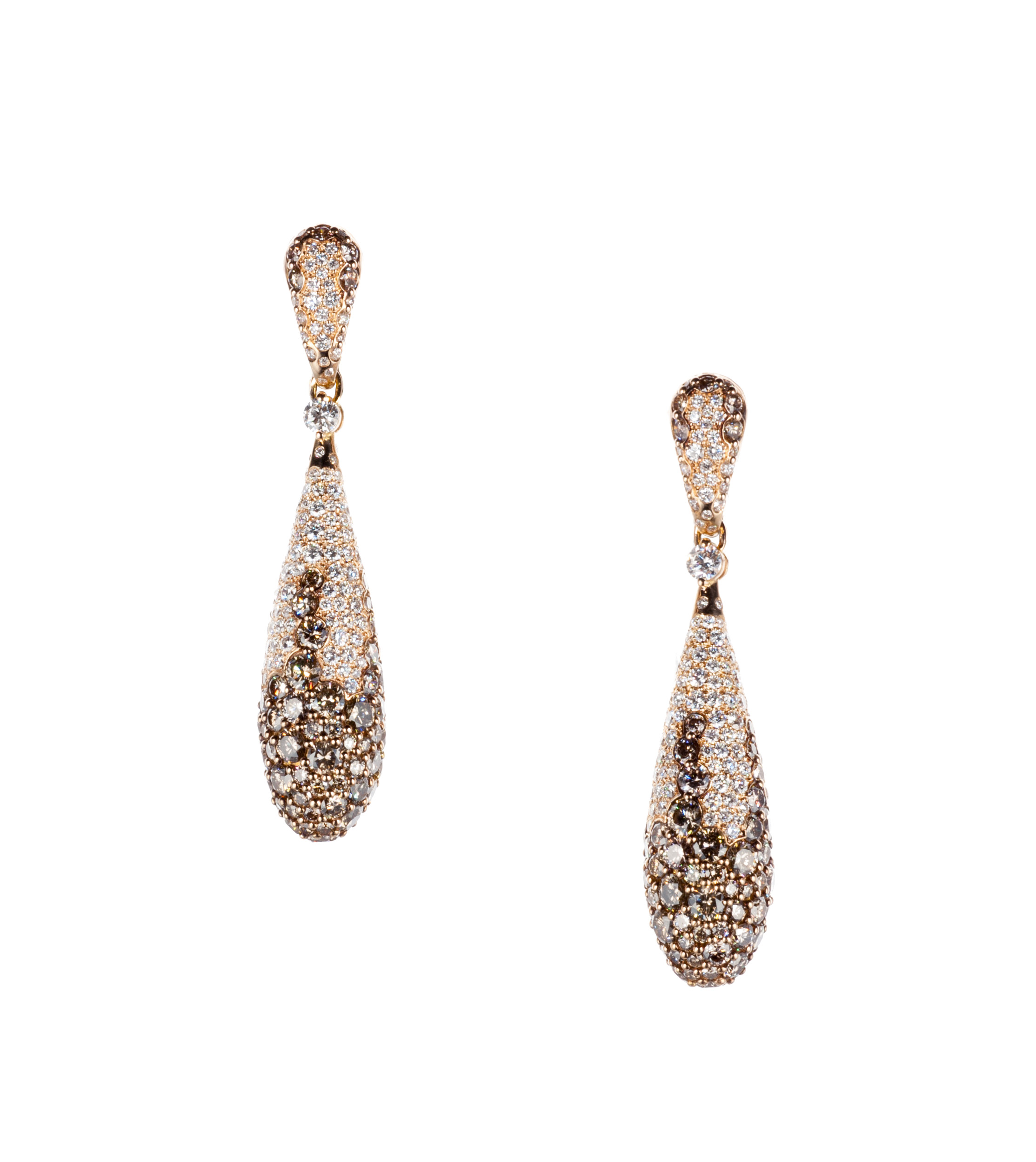 Rose gold and brown diamond drop earrings
