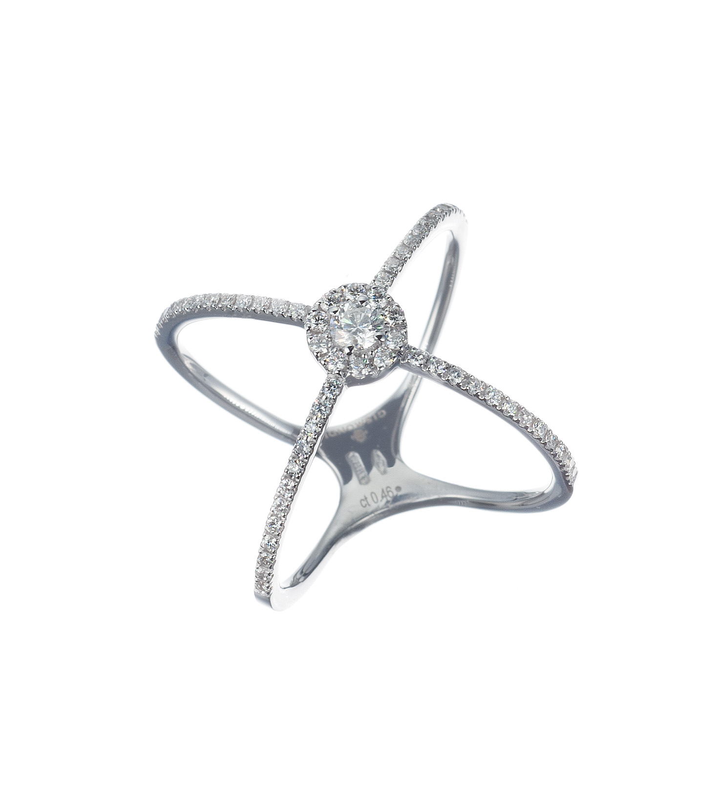 Diamond crossover ring in white gold