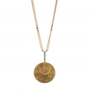 Kurtulan coin and diamond pendant necklace in 24-karat yellow gold