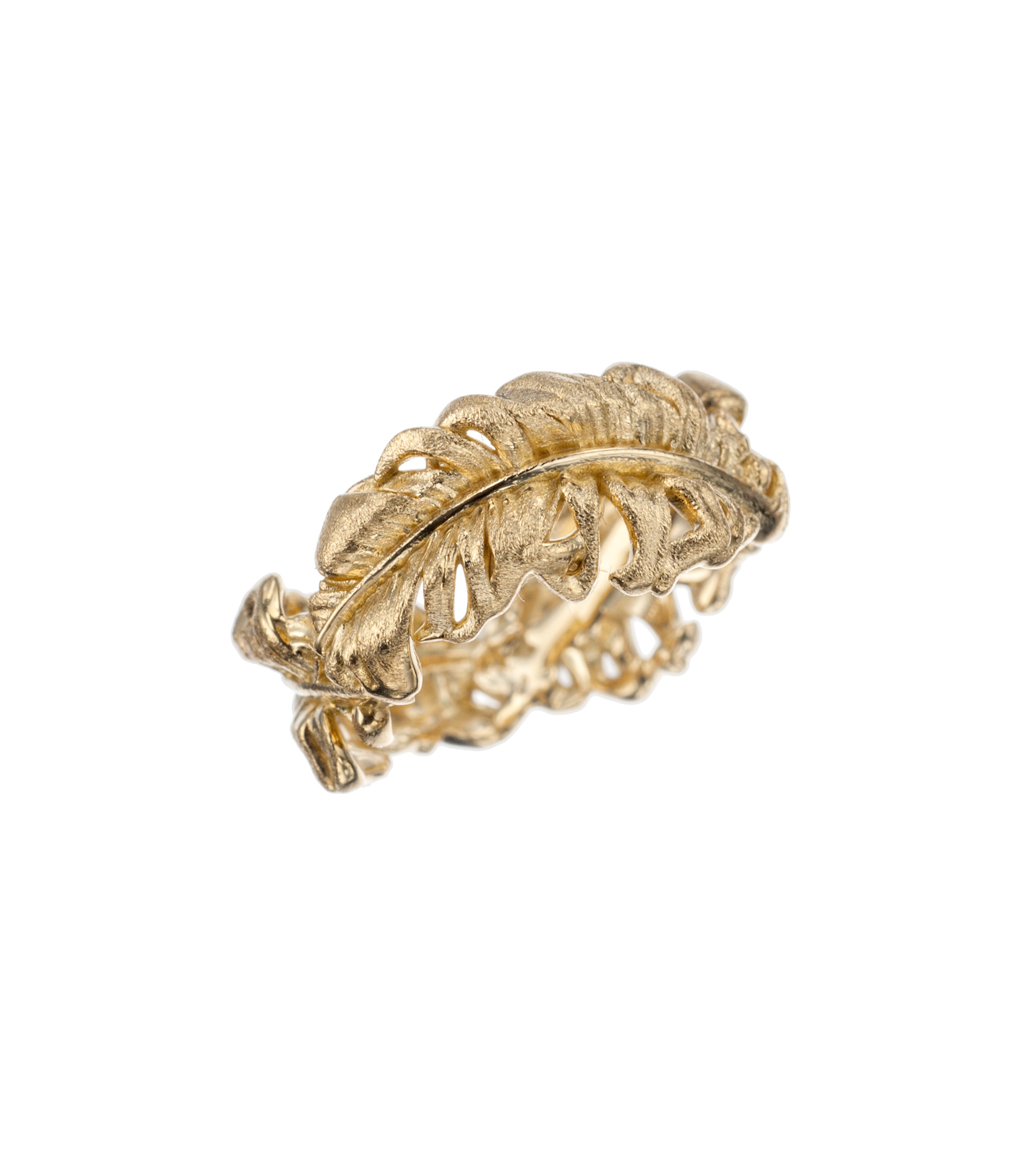 Feather band in 18-karat yellow gold