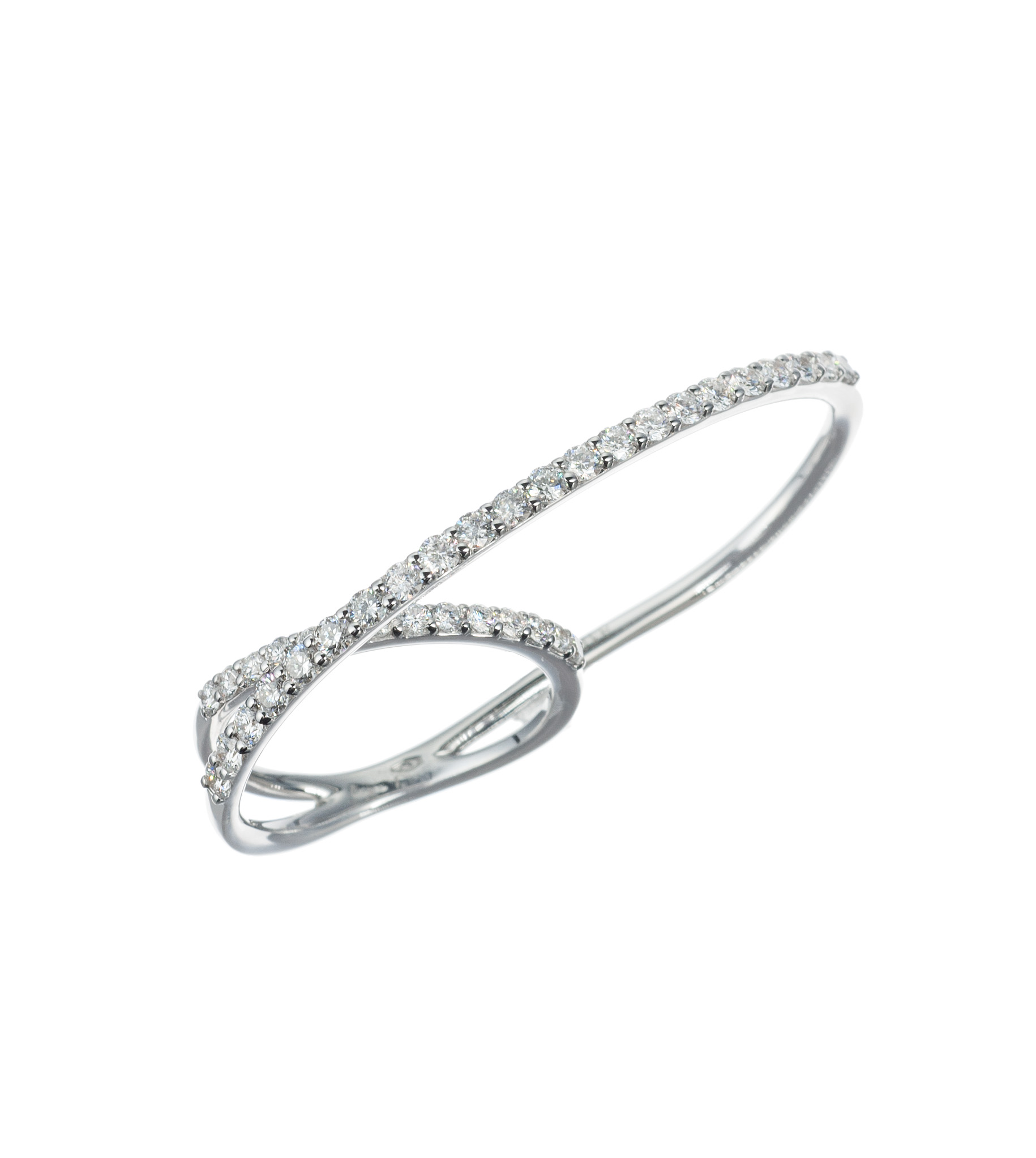 Diamond two-finger ring in white gold