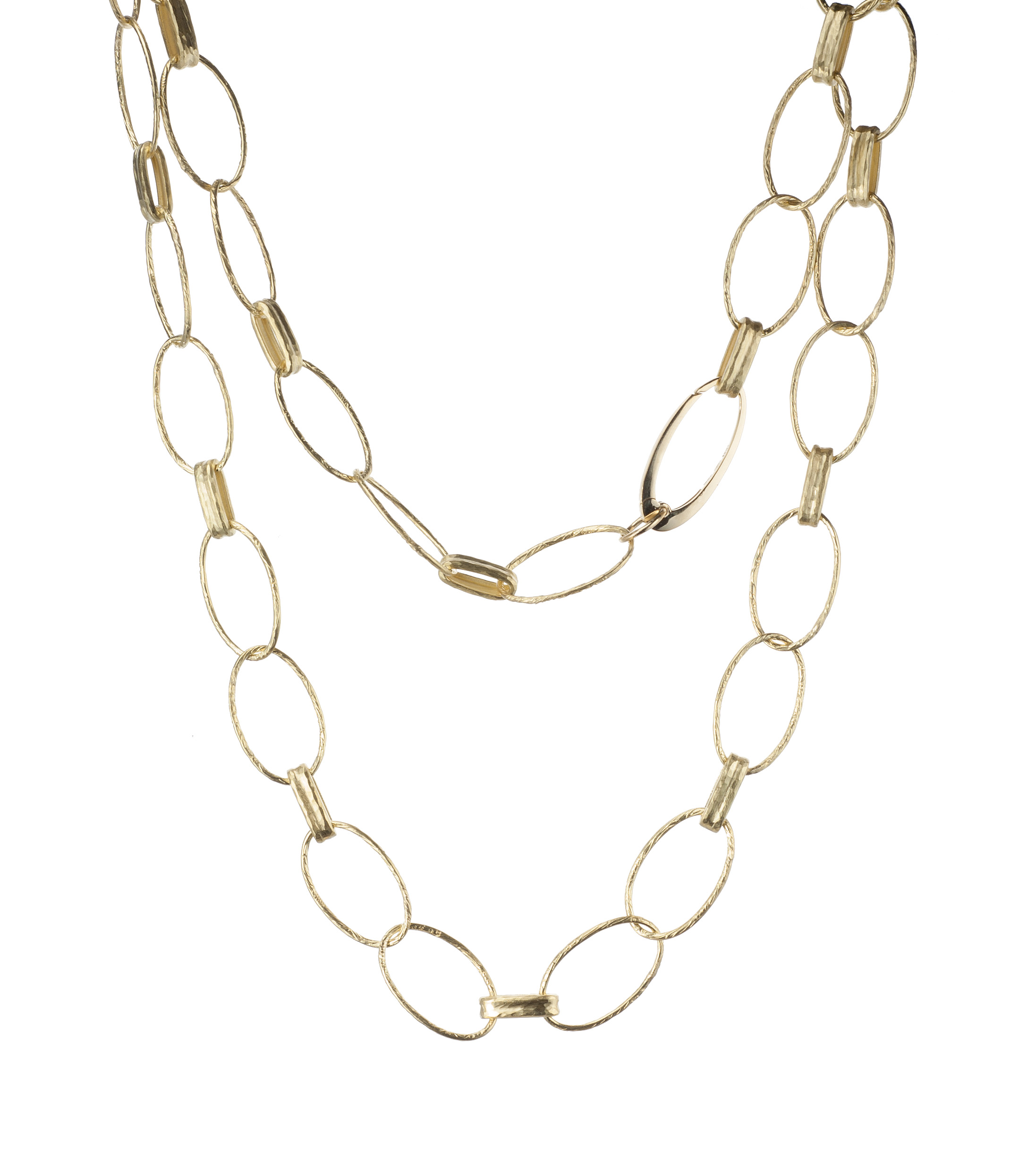 Hammered link 18-karat yellow gold necklace