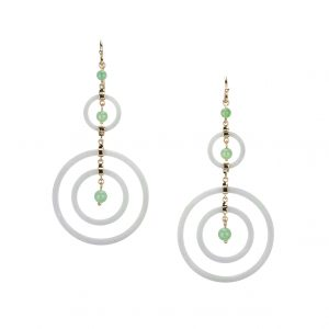 White and green jadeite drop earrings in 18-karat yellow gold