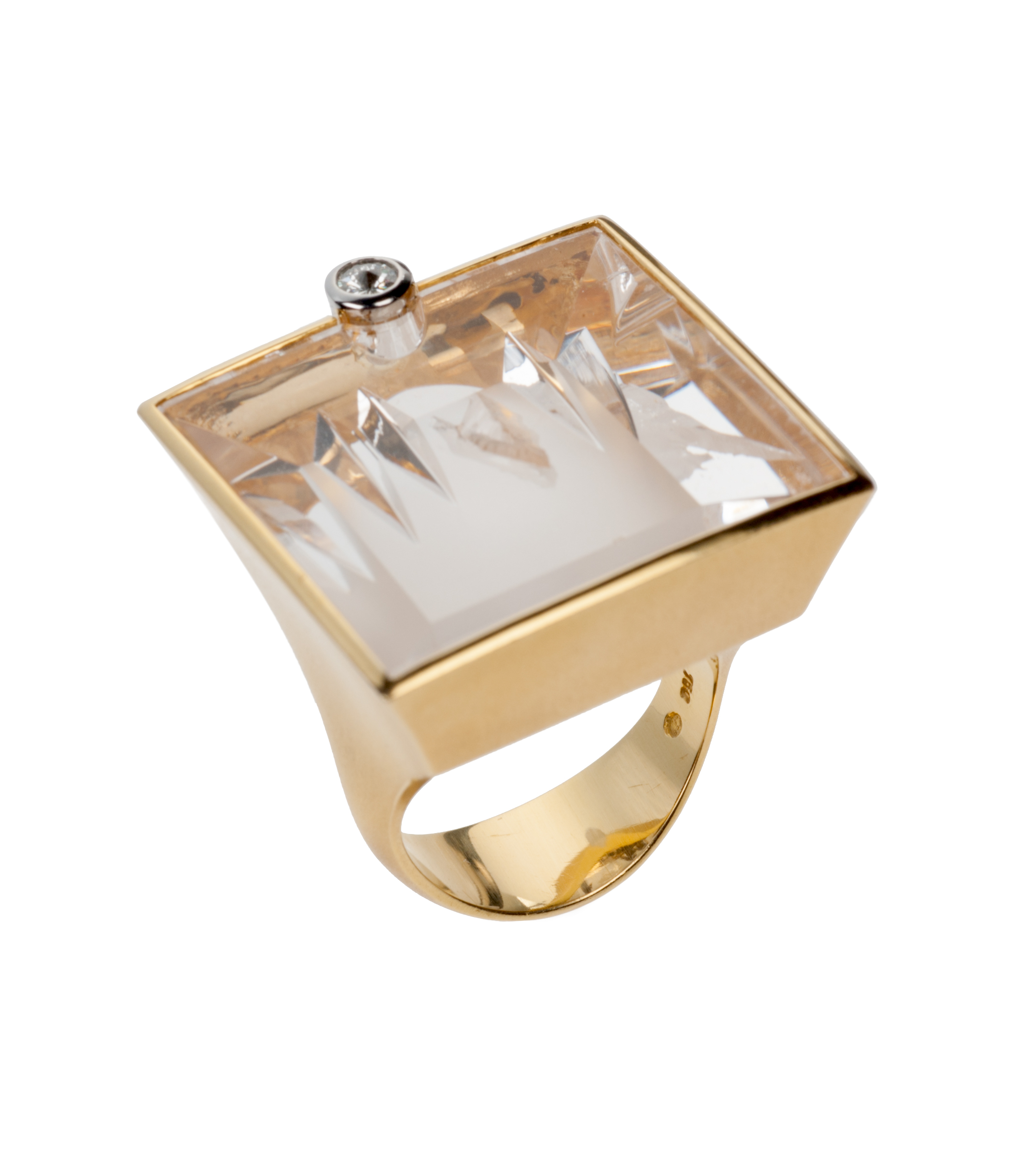 Munsteiner phantom quartz and diamond ring in 18-karat yellow gold