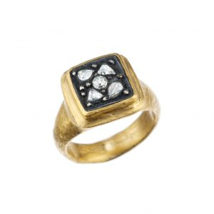 "Yossi Harari ""Gilver"" Diamond Ring in 24KT Yellow Gold and Sterling Silver"