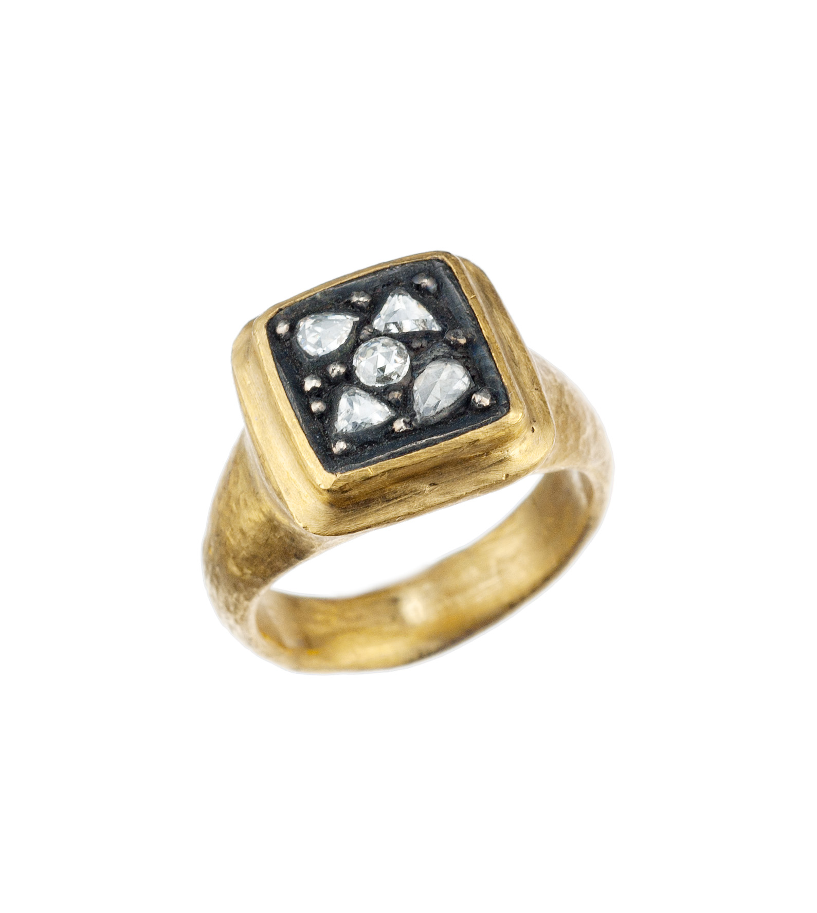"Yossi Harari ""Gilver"" diamond ring in 24-karat yellow gold and sterling silver"