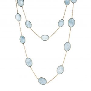 Aquamarine and 18-karat yellow gold station necklace