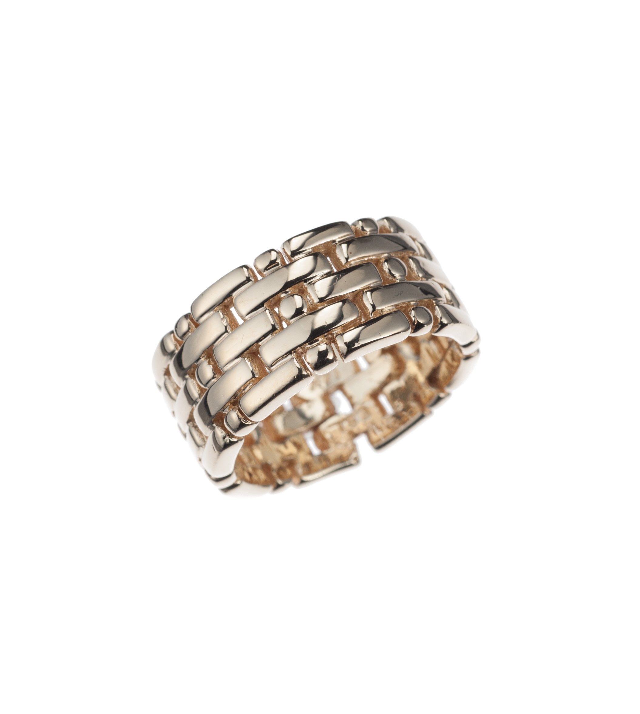 Five row band in 14-karat yellow gold