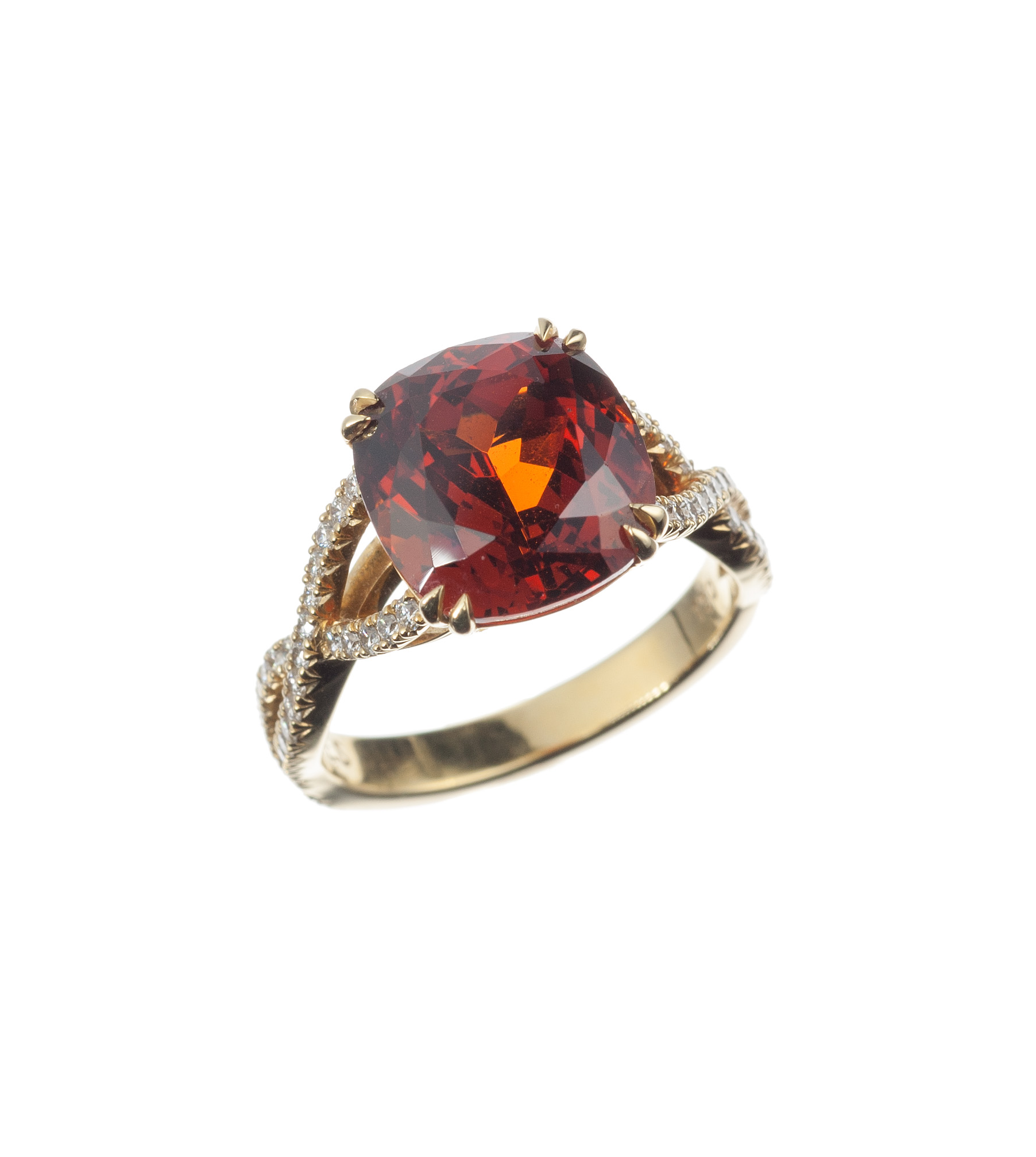 Spessartite garnet and diamond ring in 18-karat yellow gold