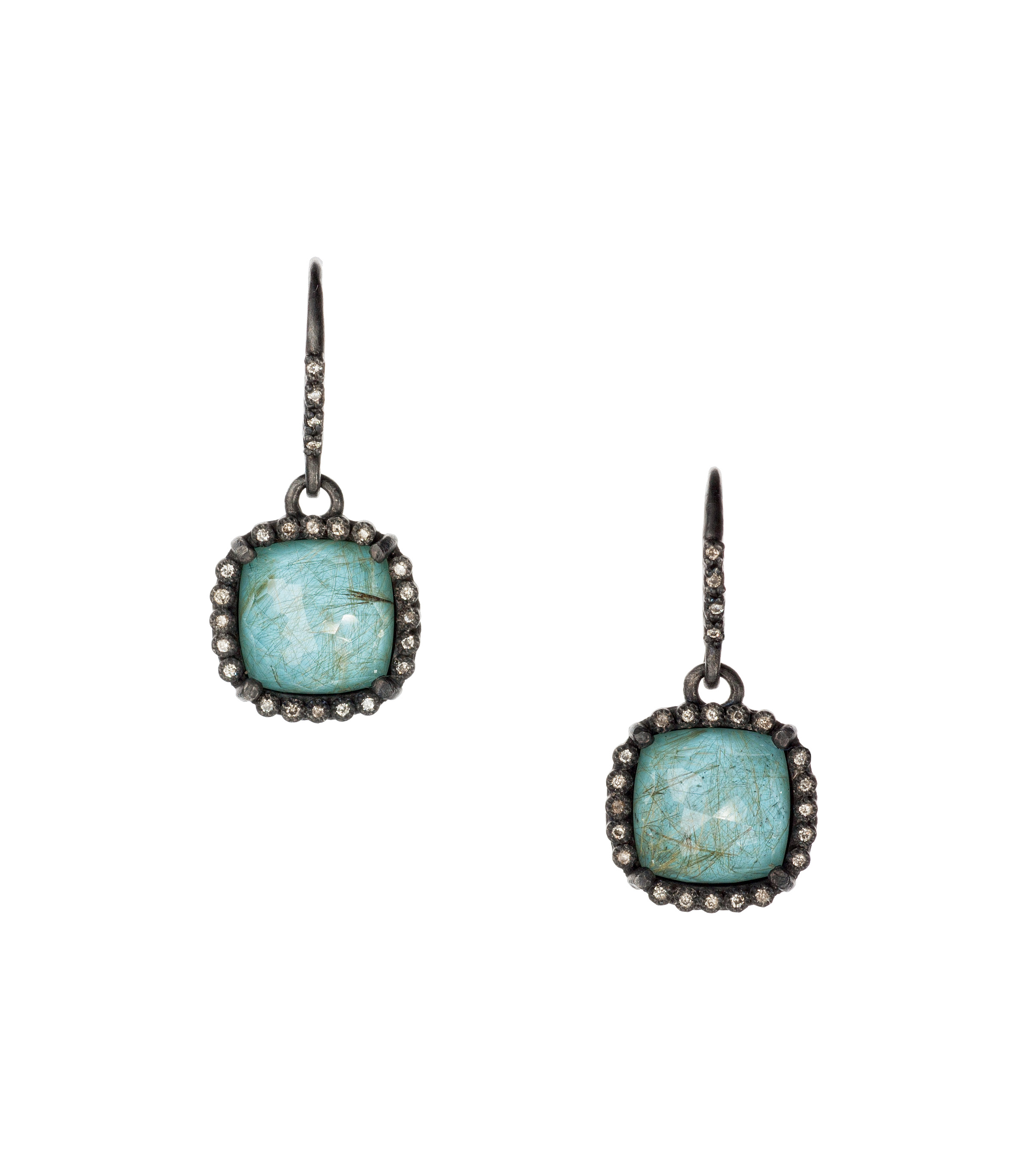 Turquoise and ruilated quartz earrings