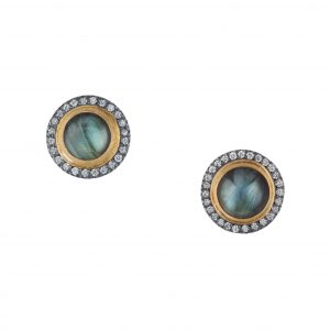 Lika Behar Labradorite and Diamond Stud Earrings