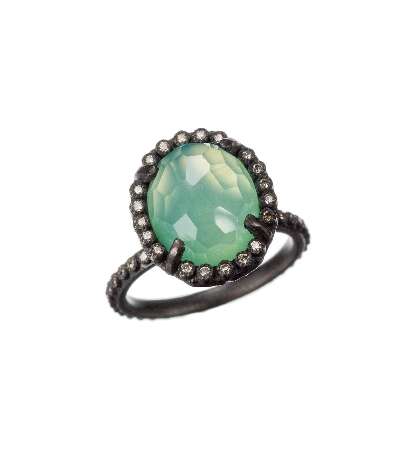 Chrysoprase and quartz doublet ring