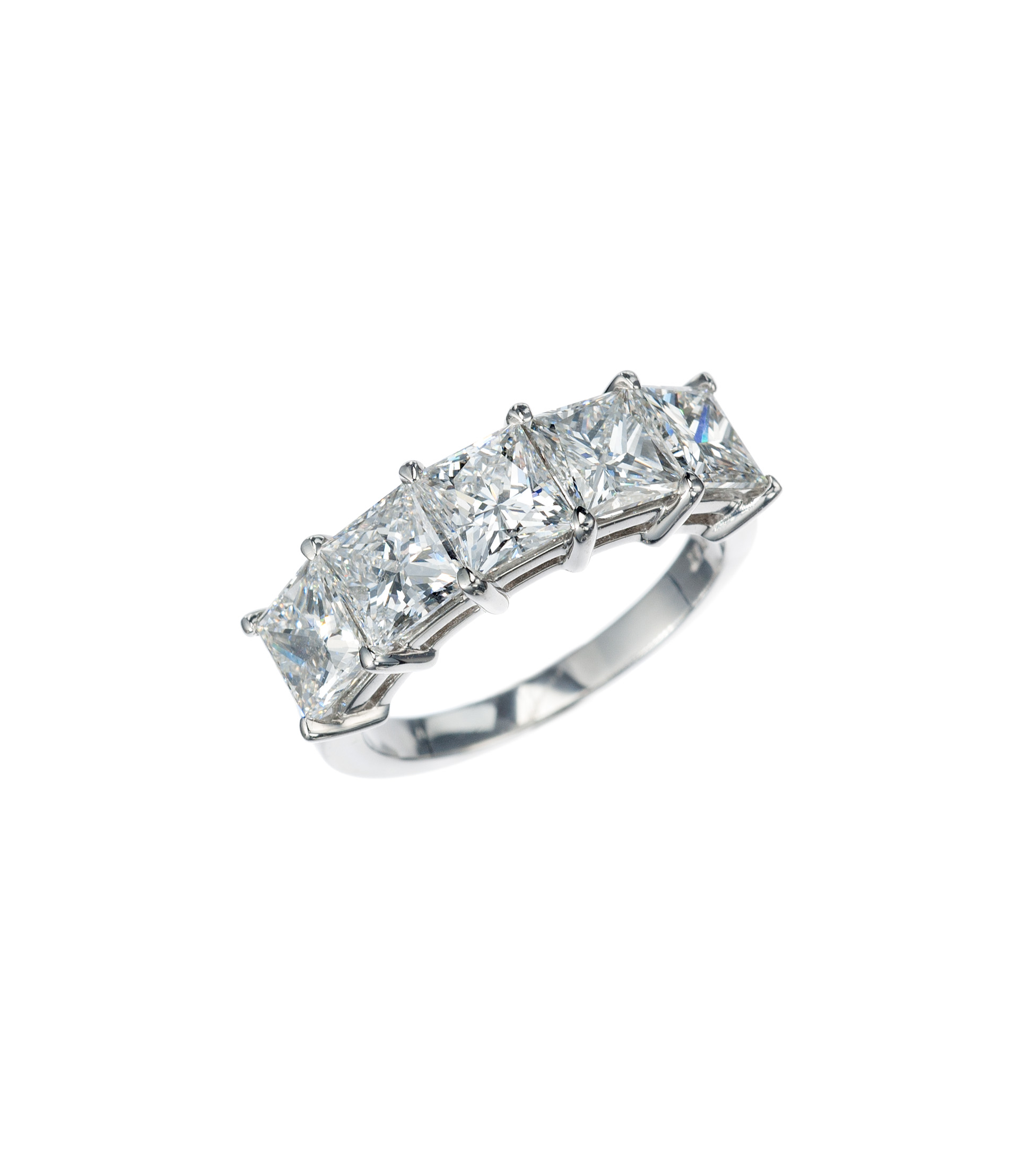 Princess-cut diamond part-way band