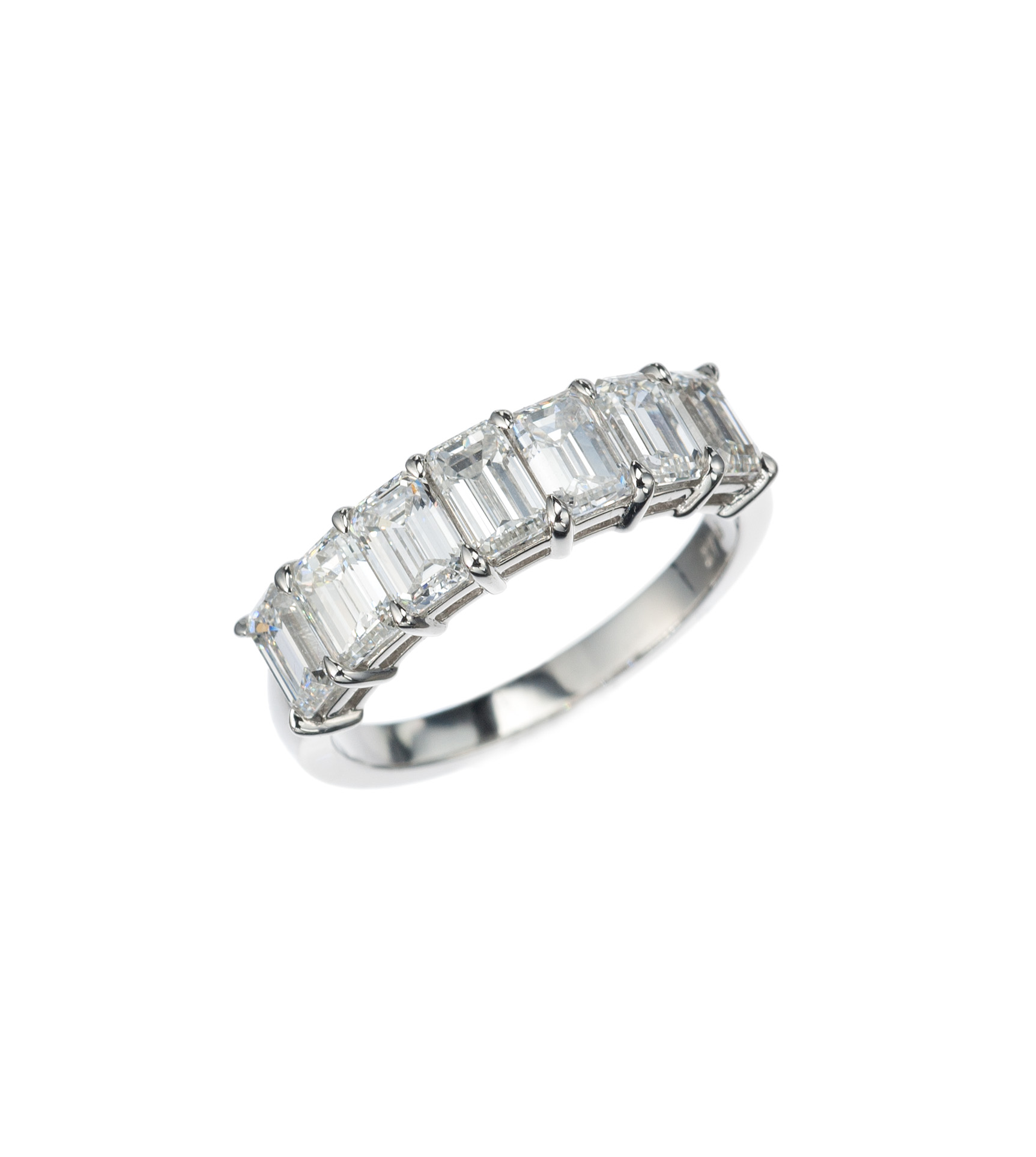Emerald-cut diamond part-way band