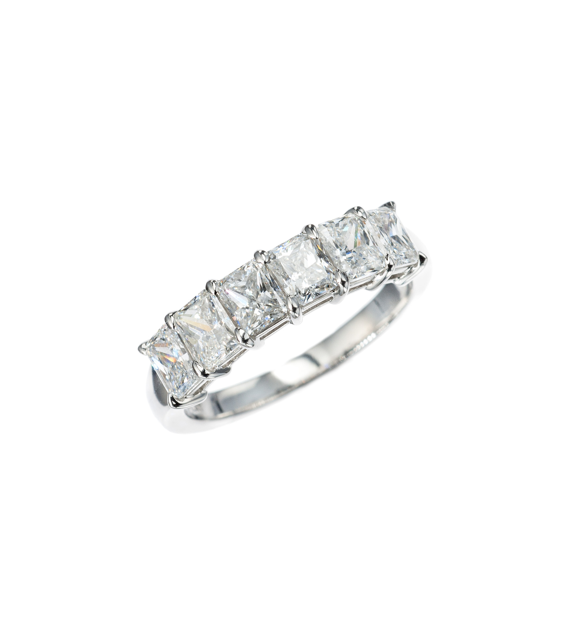 Radiant-cut diamond part-way band