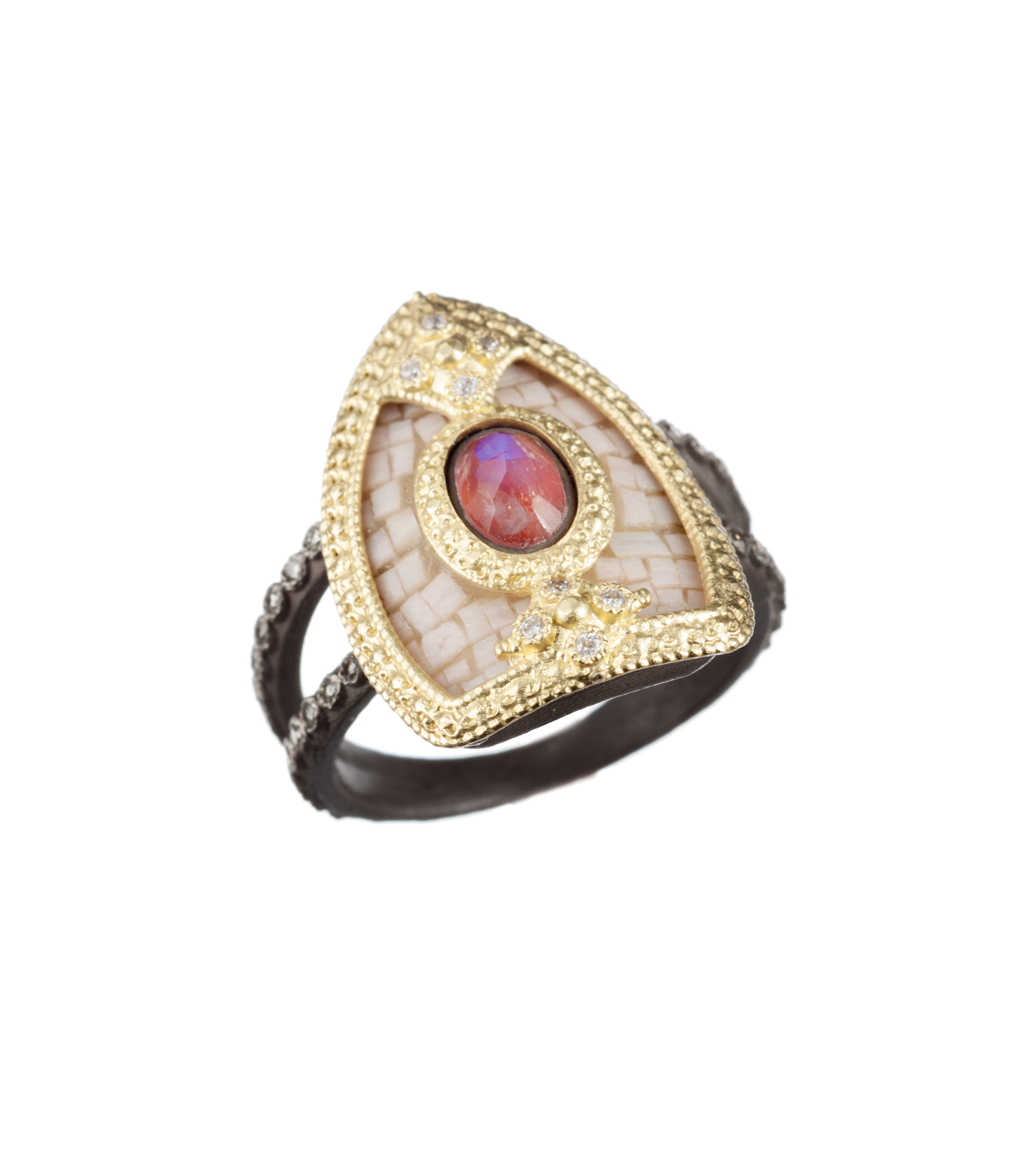 Armenta 'Old World' red jasper and moonstone ring