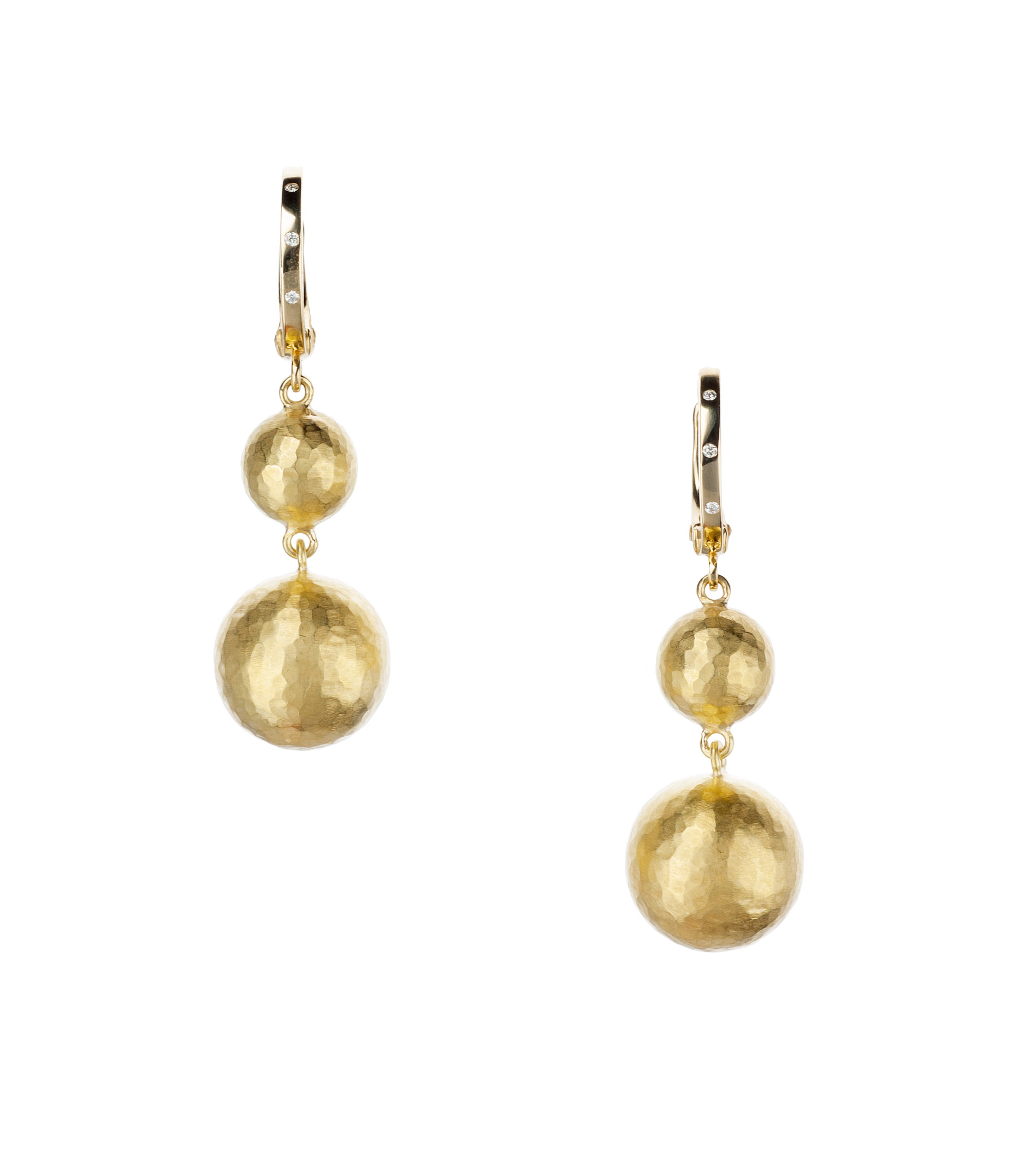 Hammered 18-karat yellow gold and diamond drop earrings