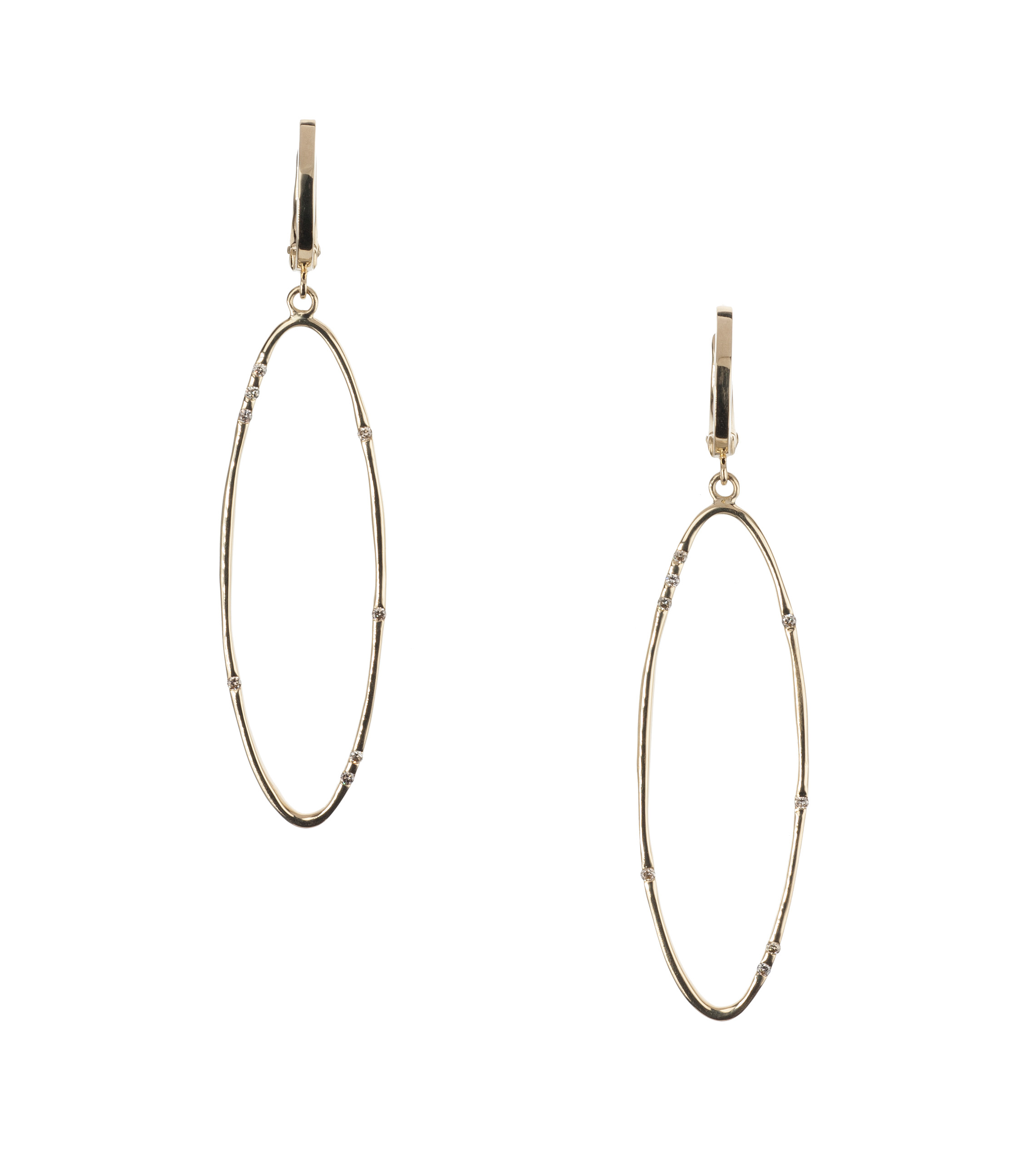 Oval diamond drop earrings in 18-karat yellow gold