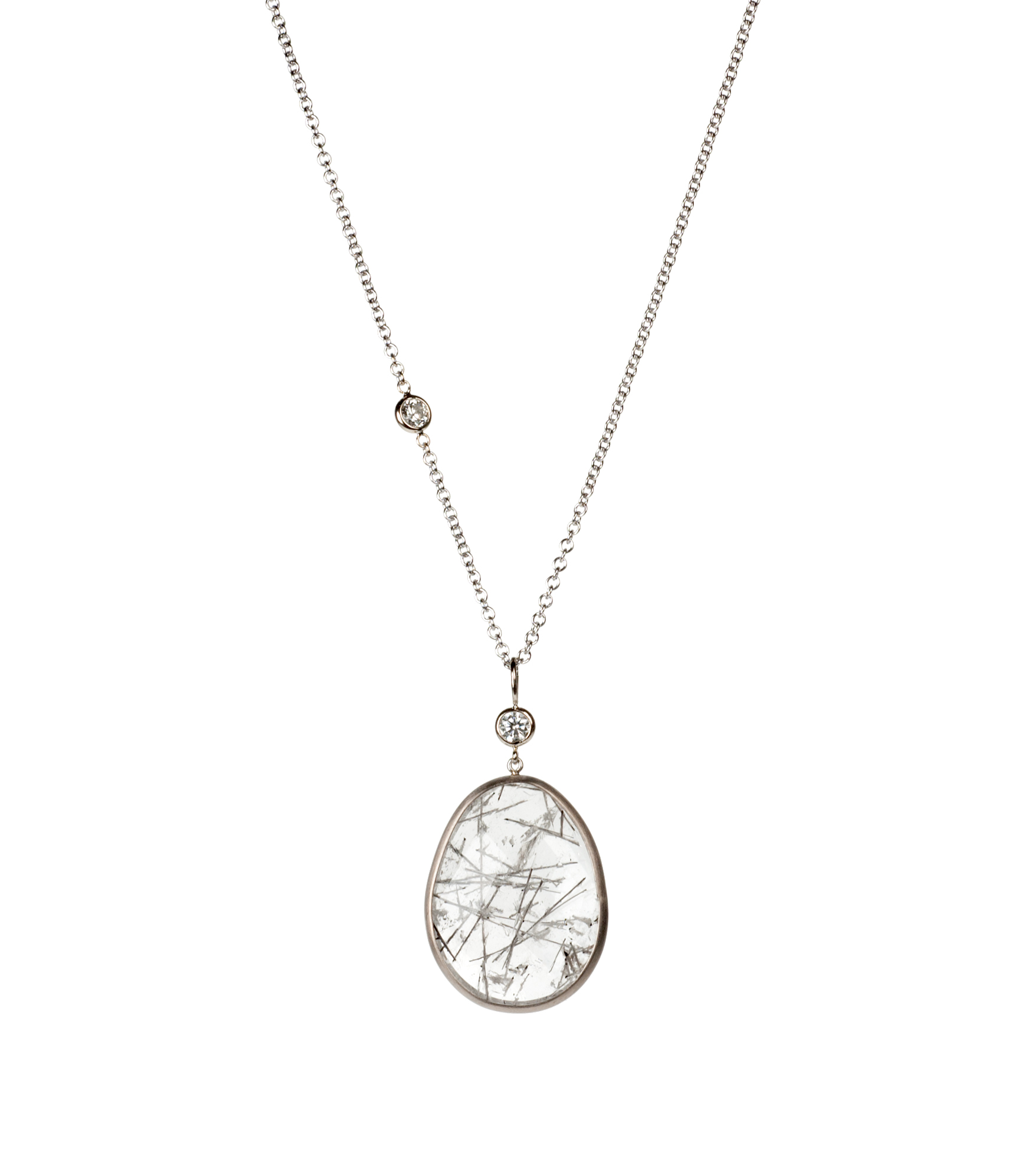 Tourmalated Quartz and diamond necklace in 18-karat white gold