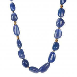 Tanzanite nugget and diamond 18-karat gold necklace