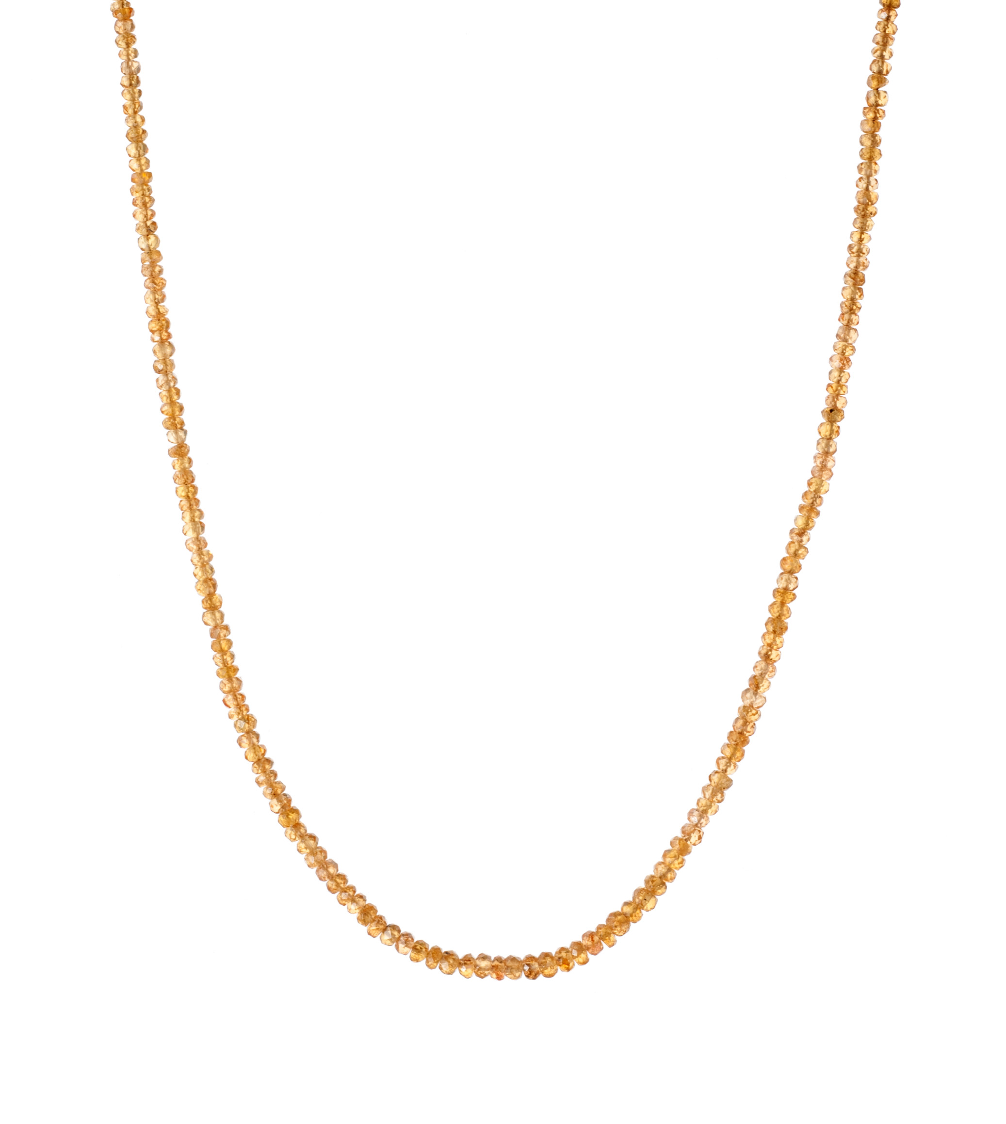 Spessartite bead necklace with 18-karat yellow gold clasp