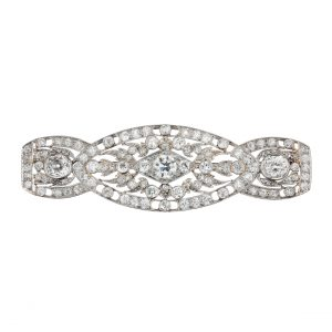 Diamond Art Deco Brooch in Platinum and 14KT White Gold