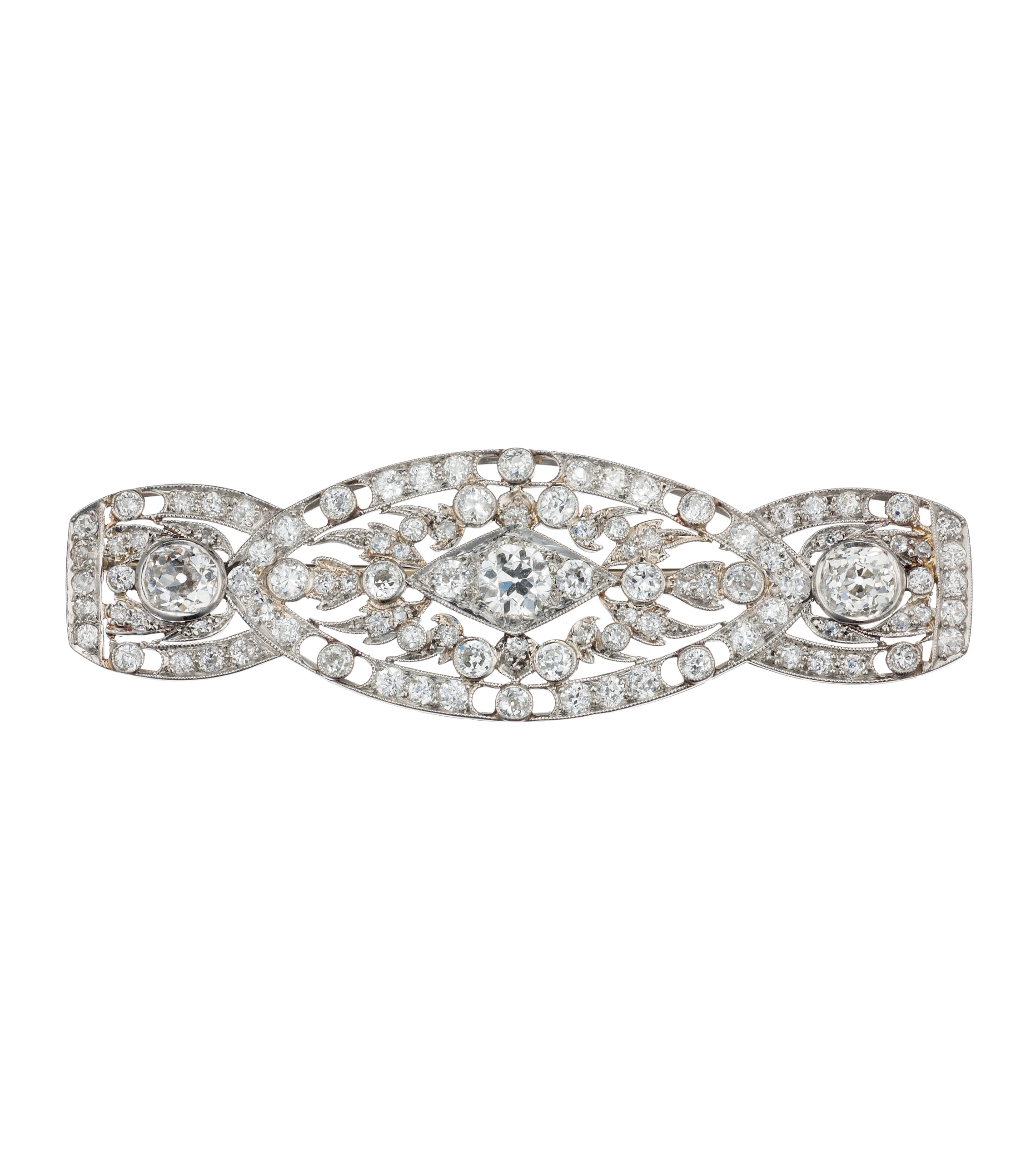 Diamond art deco brooch in platinum and 14-karat white gold