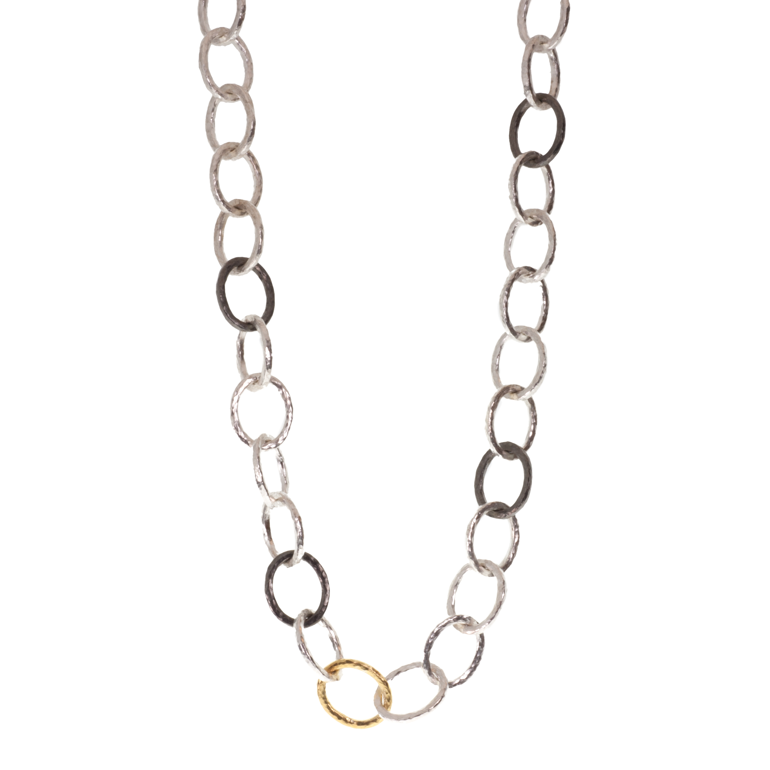 """Hoopla"" tri-tone link necklace"