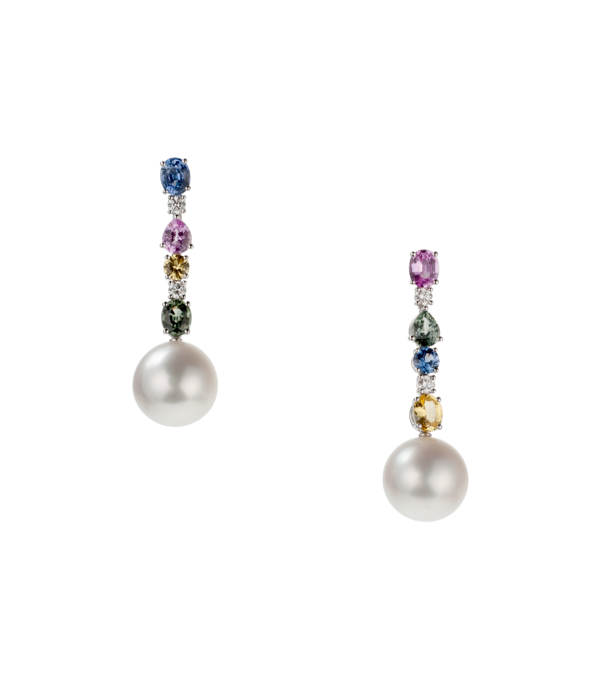Schoeffel pearl and multi-colored sapphire earrings
