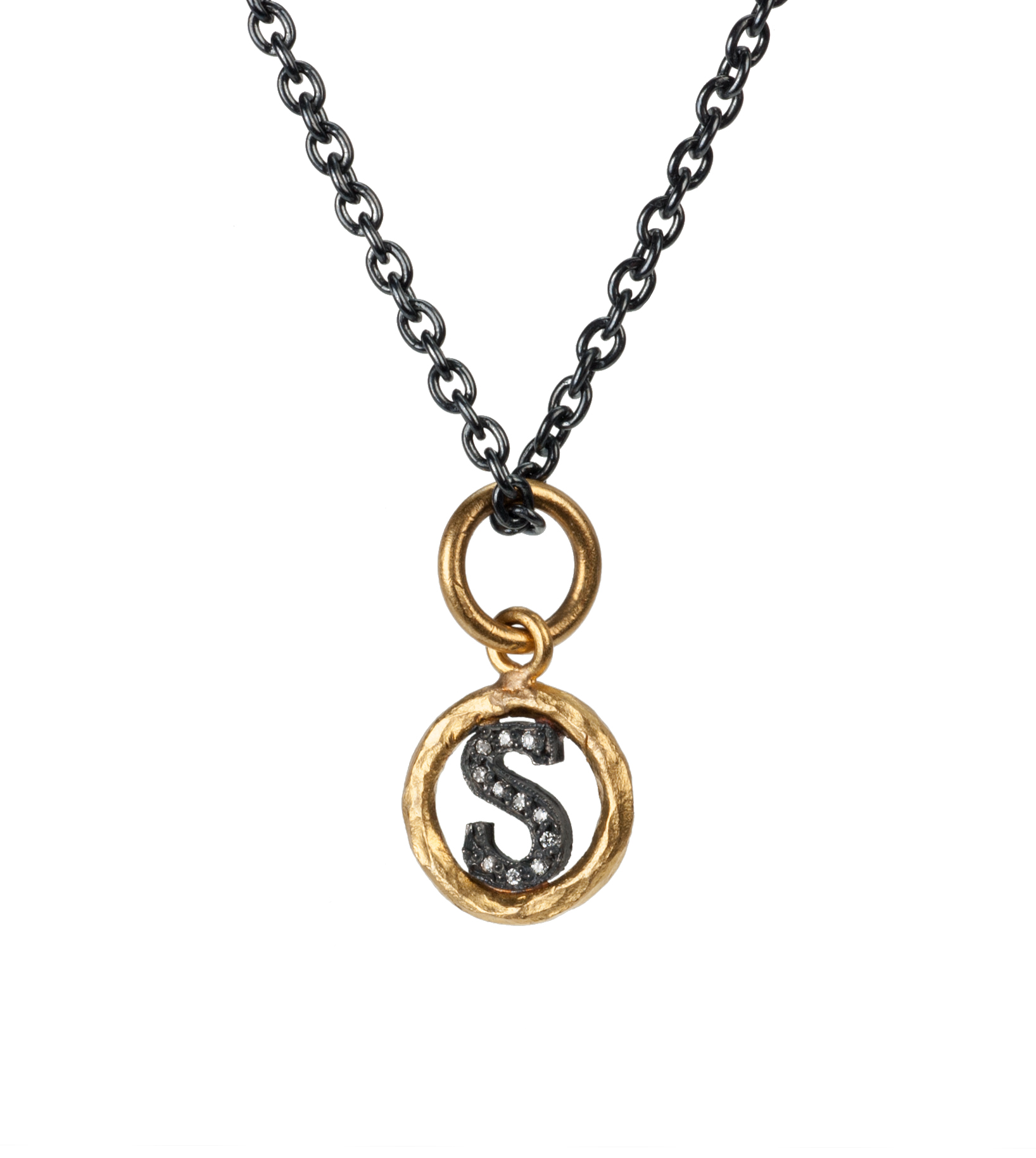 "Small ""S"" diamond initial pendant necklace"