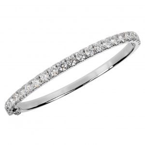 Partial diamond hinged bangle