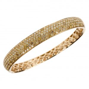 Fancy yellow diamond bangle
