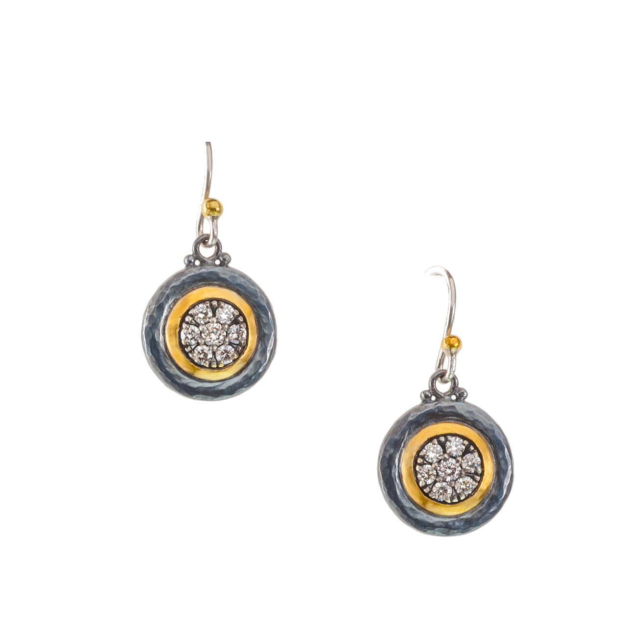 """Moonstruck"" oxidized dangle button earring"