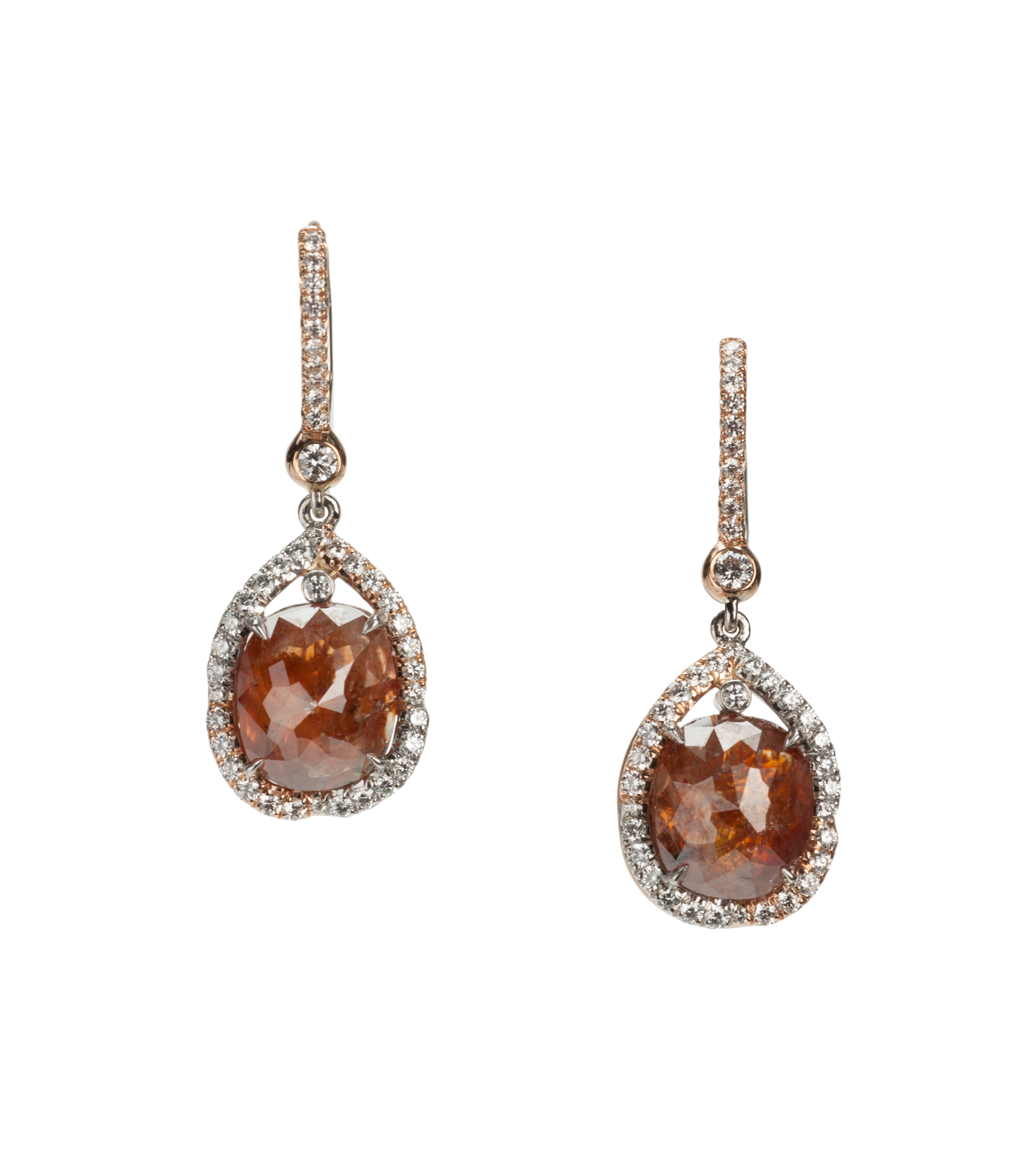 Pink-brown diamond drop earrings