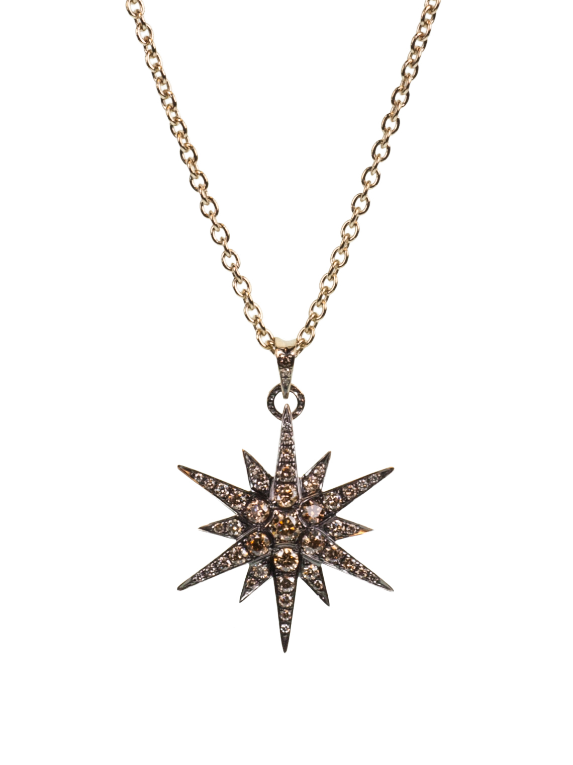 18K Noble Gold Champagne and Cognac Diamond Star Pendant Necklace