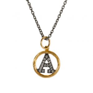 "Medium ""A"" Diamond Initial Pendant Necklace"