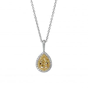 Fancy Yellow Pear-Shaped Diamond Pendant Necklace