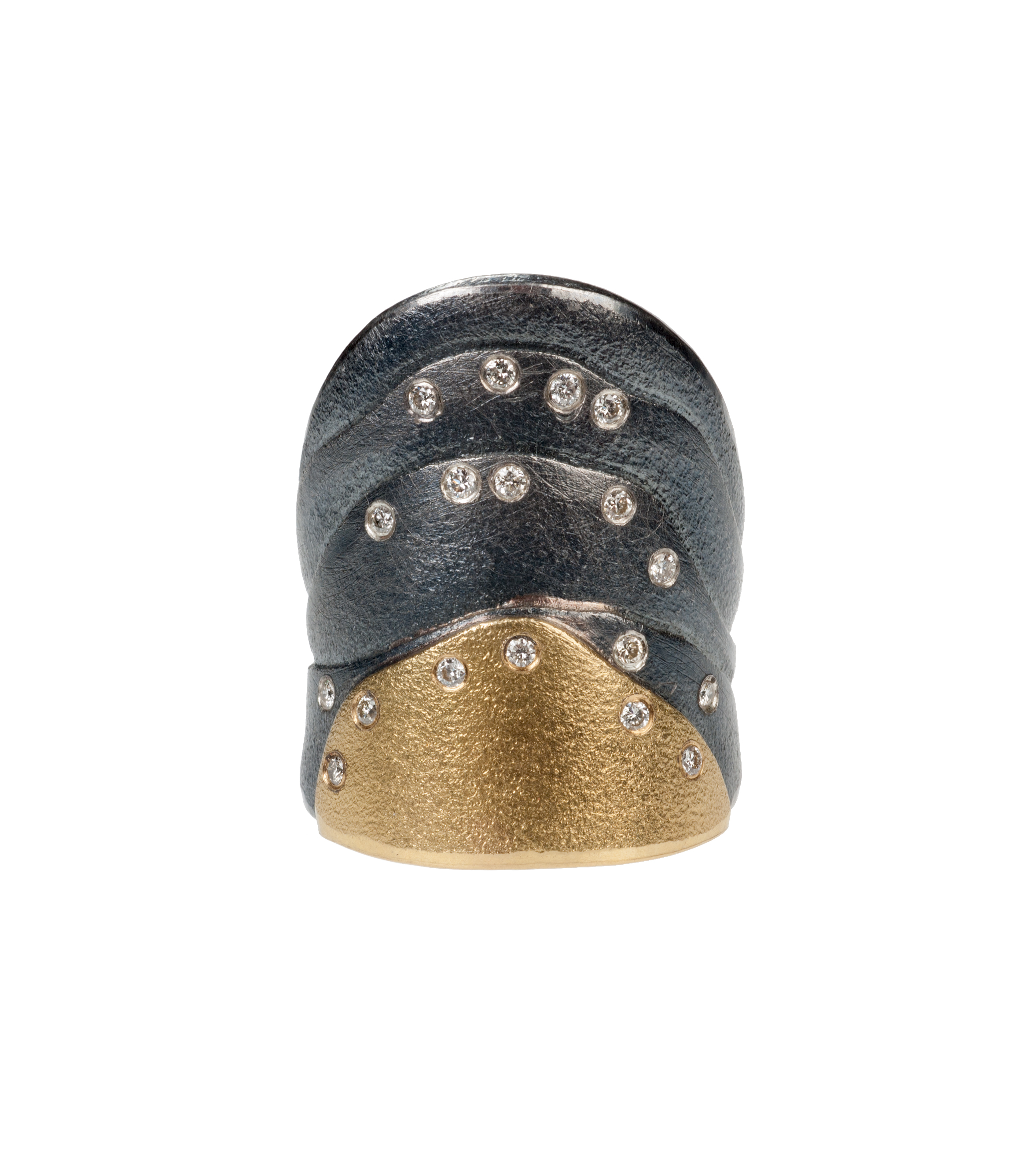 Atelier Zobel diamond ring in oxidized sterling silver and 22-karat gold