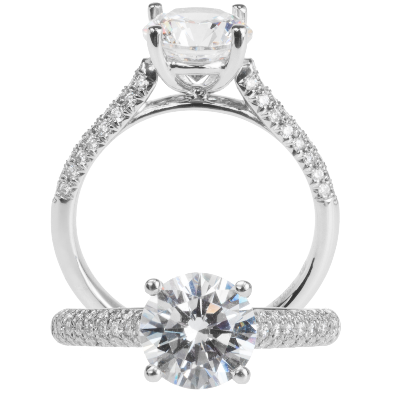 Three-Row Pave' Solitaire Semi-Mounting