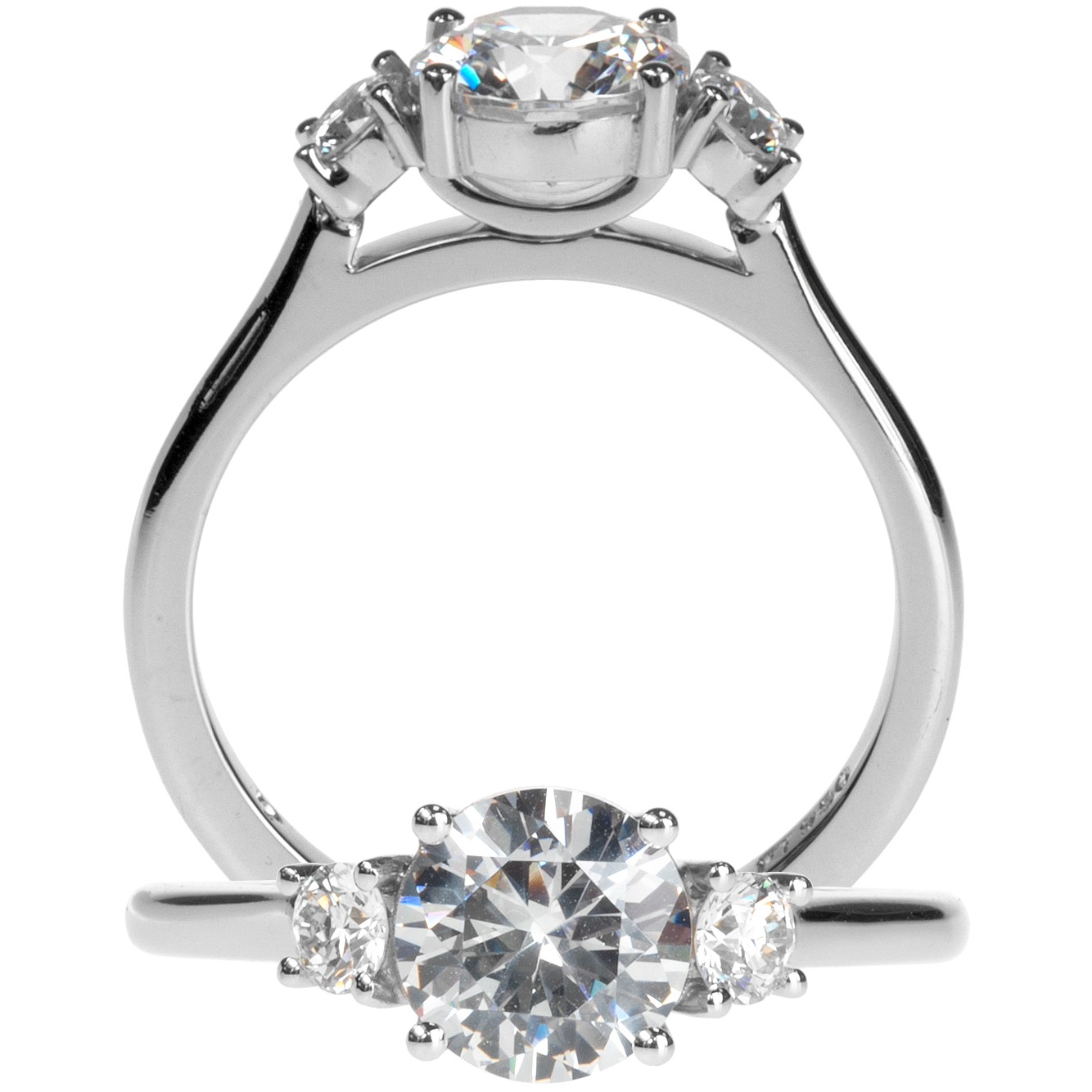 Platinum Three-Stone Semi-Mounting