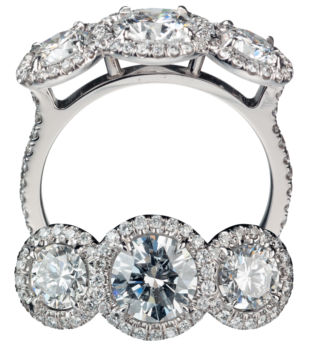 Triple-Halo Diamond Ring