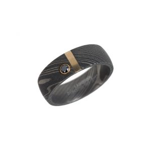 Black diamond Damascus steel wedding band