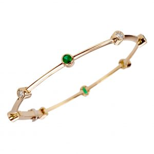 Dot-Dash emerald and diamond bracelet