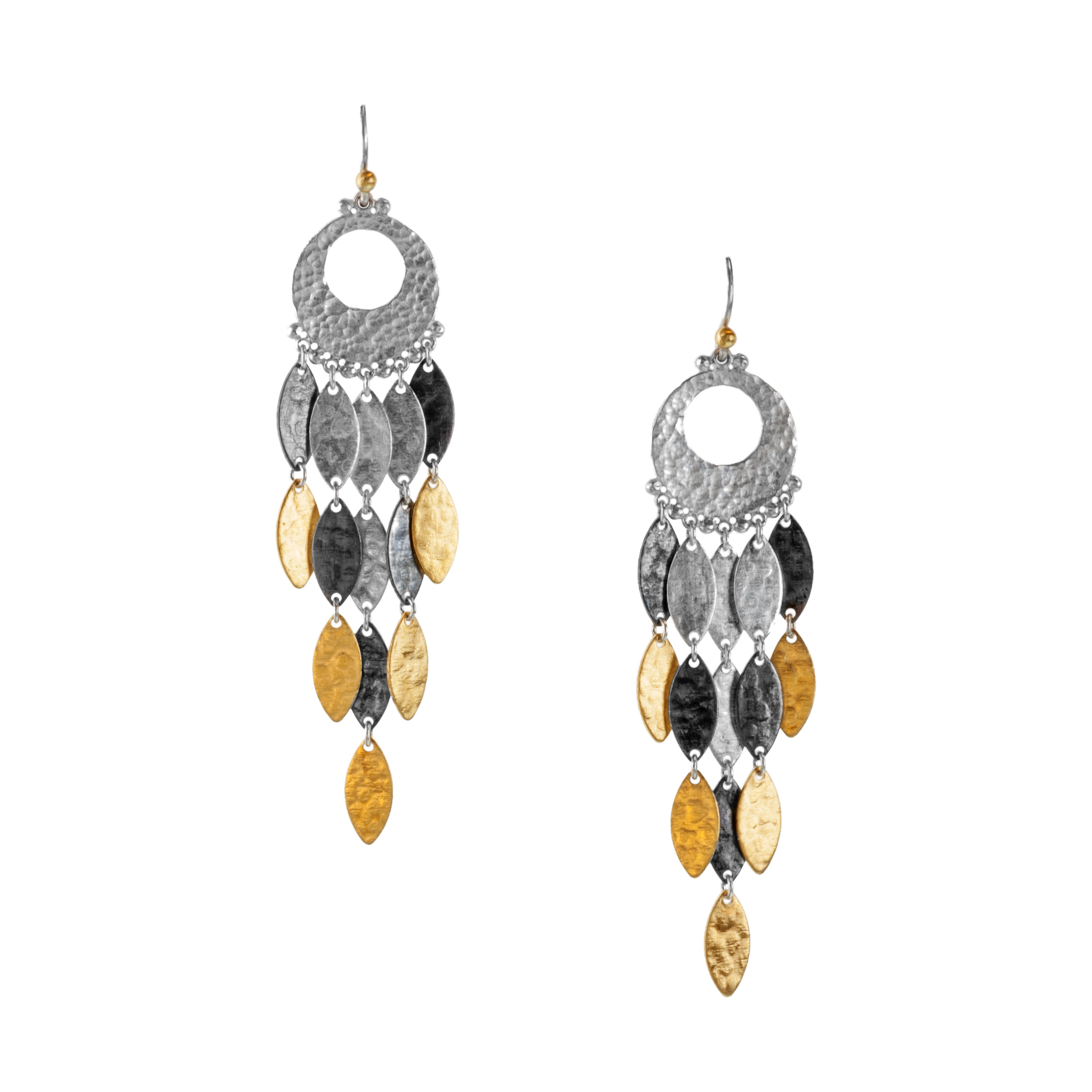 """Cascading Willow"" leaf dangle earring"