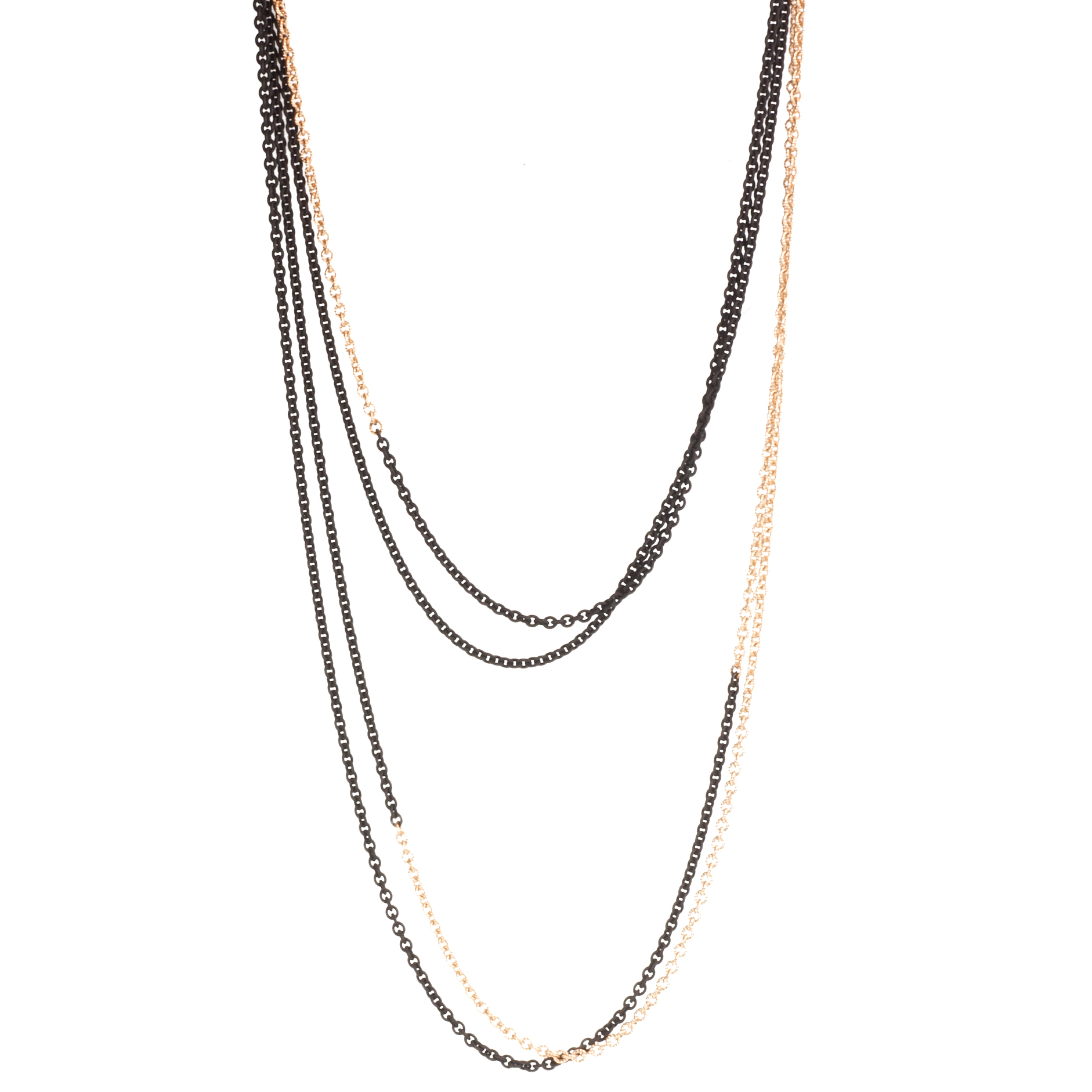 Two-tone, two-strand chain necklace