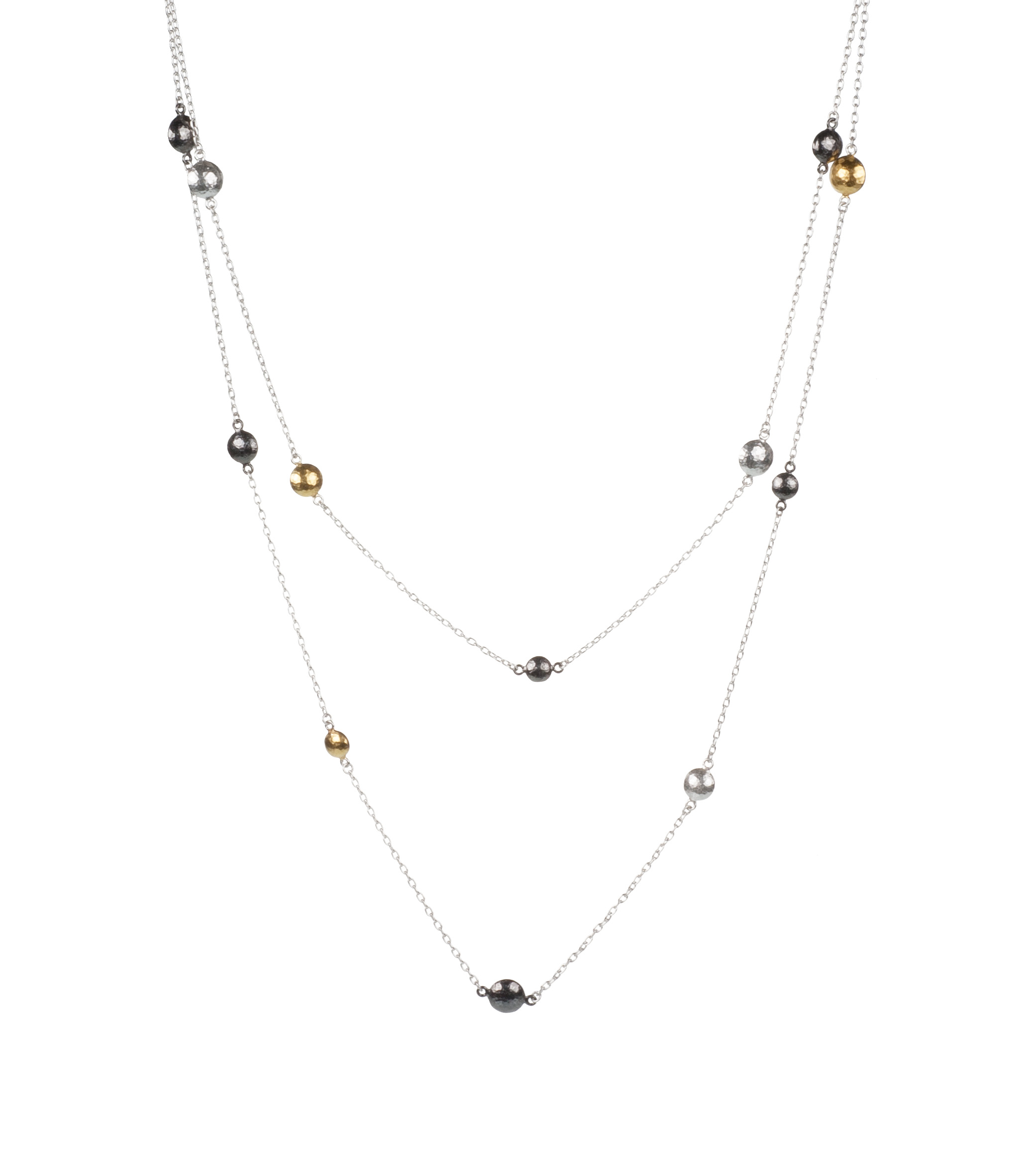 "Long ""Lentil"" tri-tone station necklace"