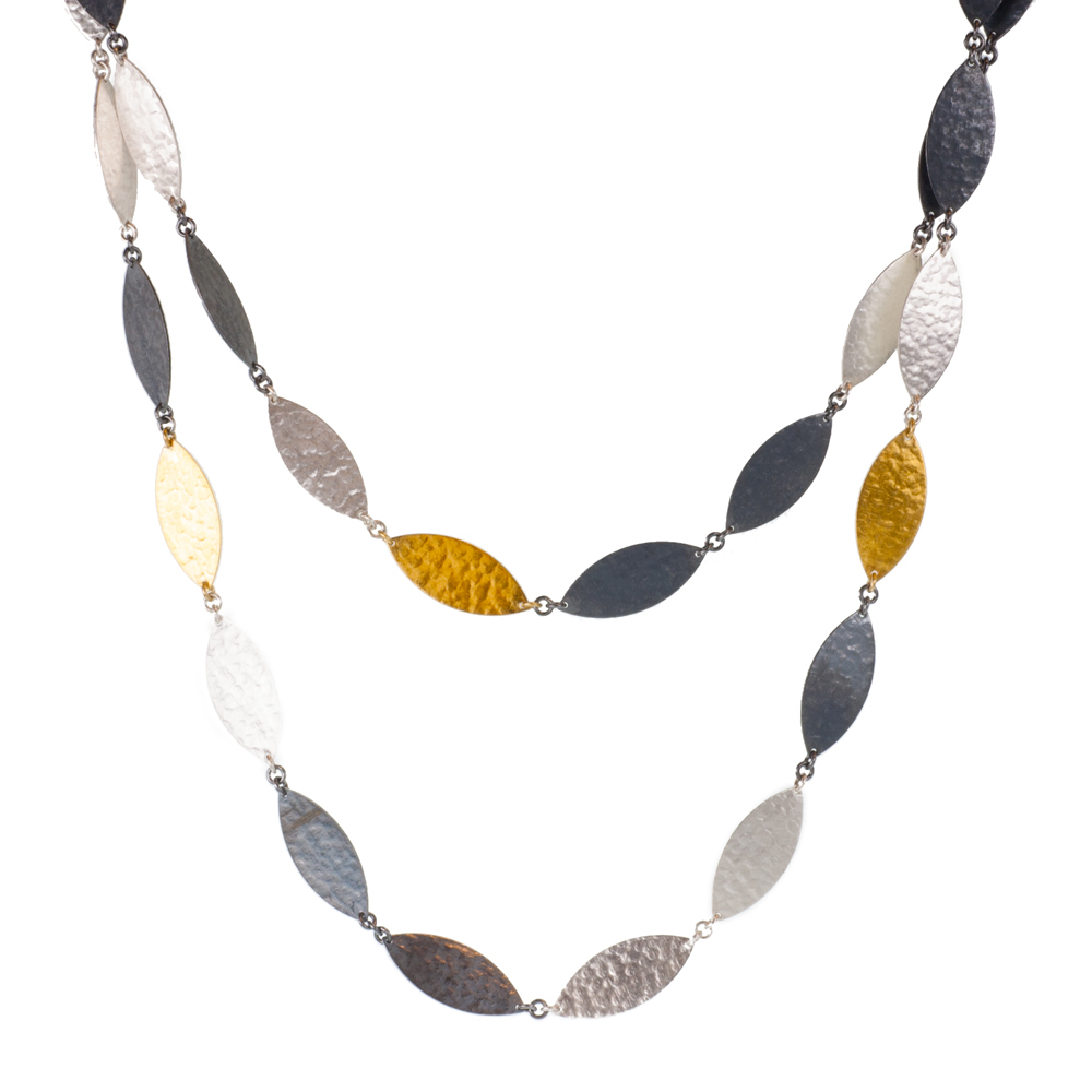 """Willow Leaf Flake"" continuous tri-tone necklace"