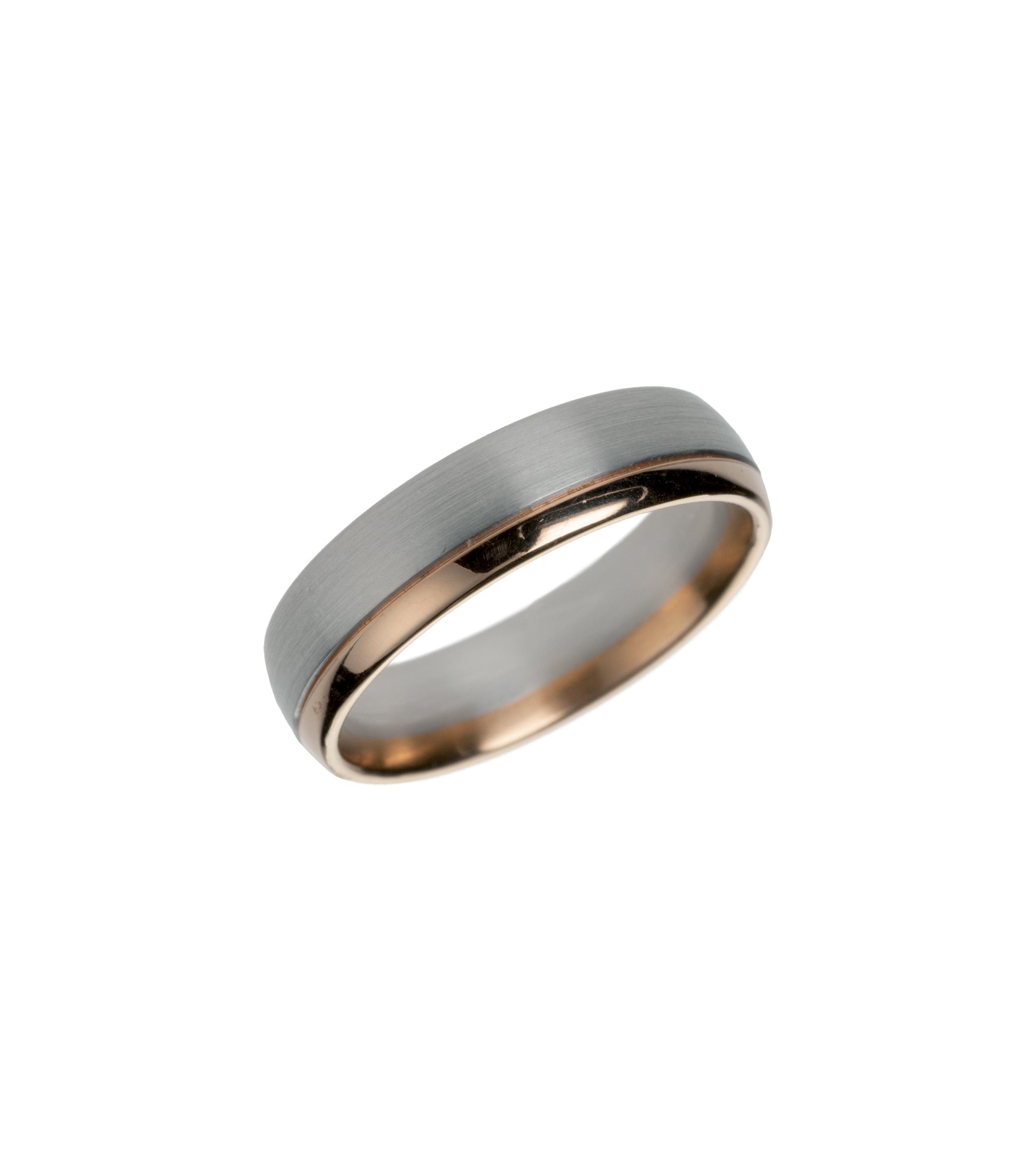 Platinum and rose gold wedding band