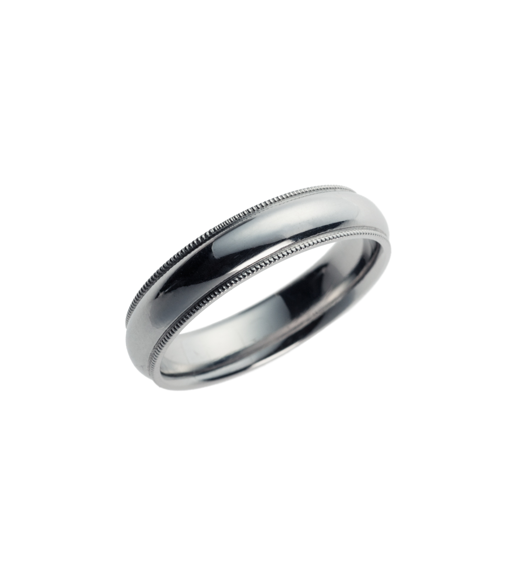 Platinum millgrain wedding band